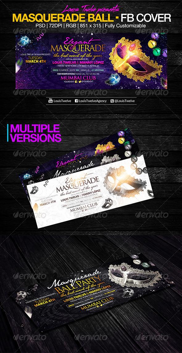 GraphicRiver Masquerade Party Facebook Cover 6968091