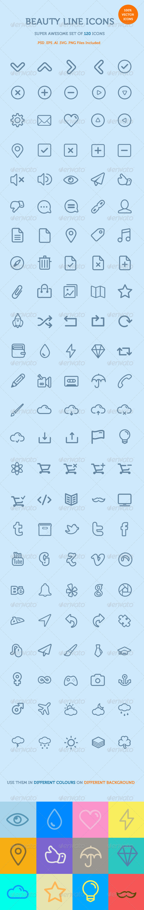 GraphicRiver Beauty Line Icons 6954442