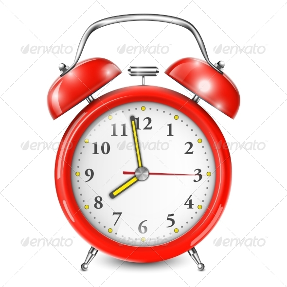 GraphicRiver Red Alarm Clock Isolated On White 6968500