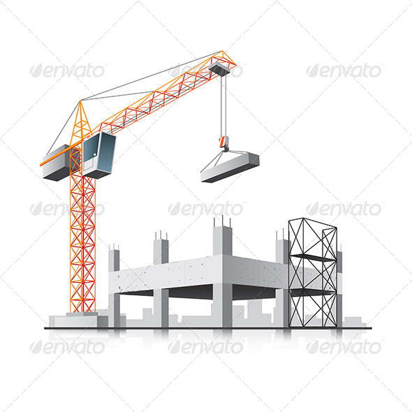 GraphicRiver Building Construction with Crane 6968595