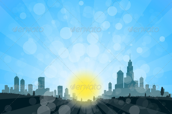 GraphicRiver Nature Landscape with City Silhouette 6968652