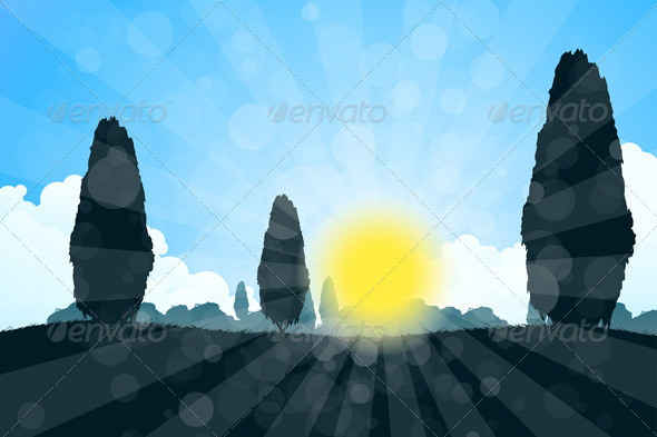GraphicRiver Landscape with Tree Silhouettes 6968658