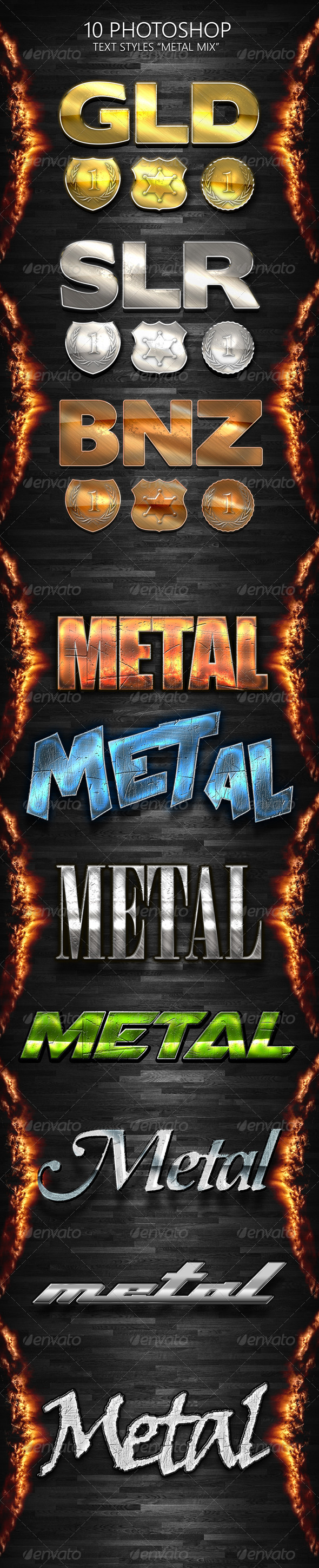 GraphicRiver 10 Photoshop Styles METAL MIX 6968675