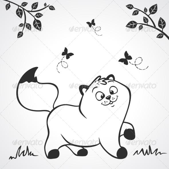 GraphicRiver Kitten Silhouette 6968892