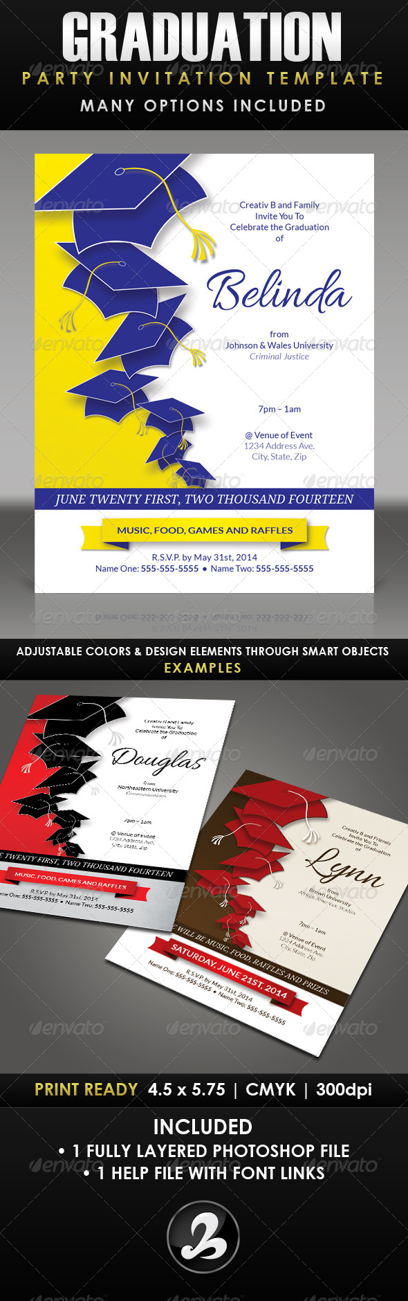 graduation party flyer templates free stock photos graphics. Black Bedroom Furniture Sets. Home Design Ideas