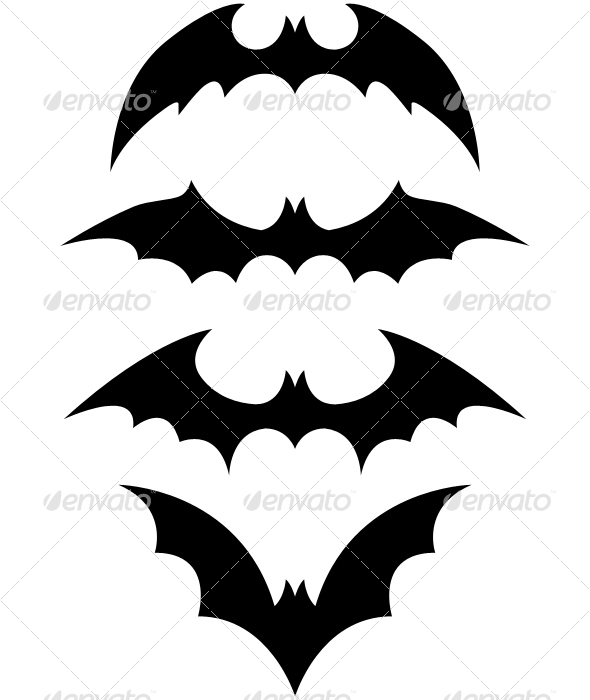 GraphicRiver halloween black bat icon set 28509