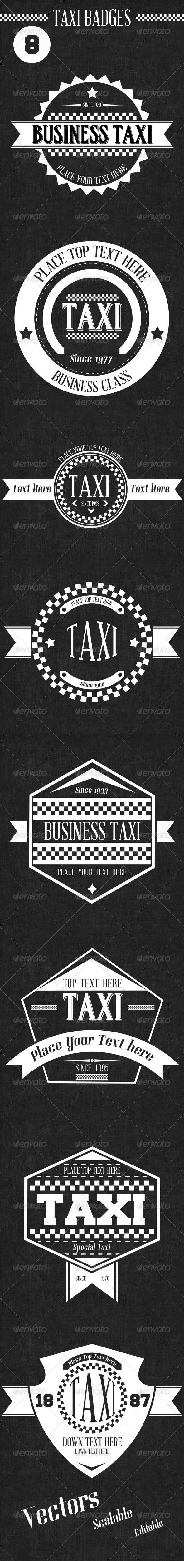8 Retro Taxi Badges