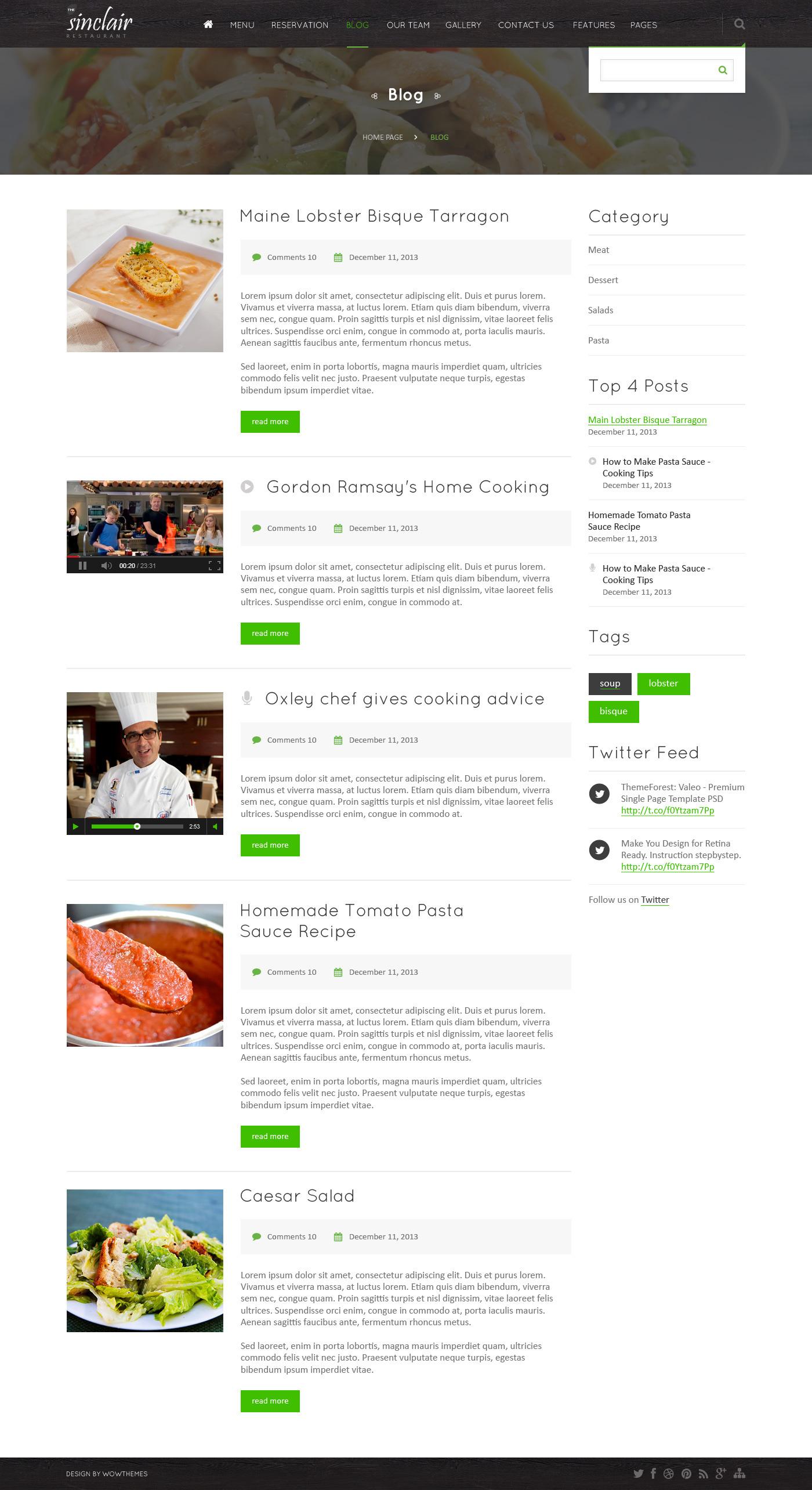 Sinclair ( Restaurant ) PSD Template