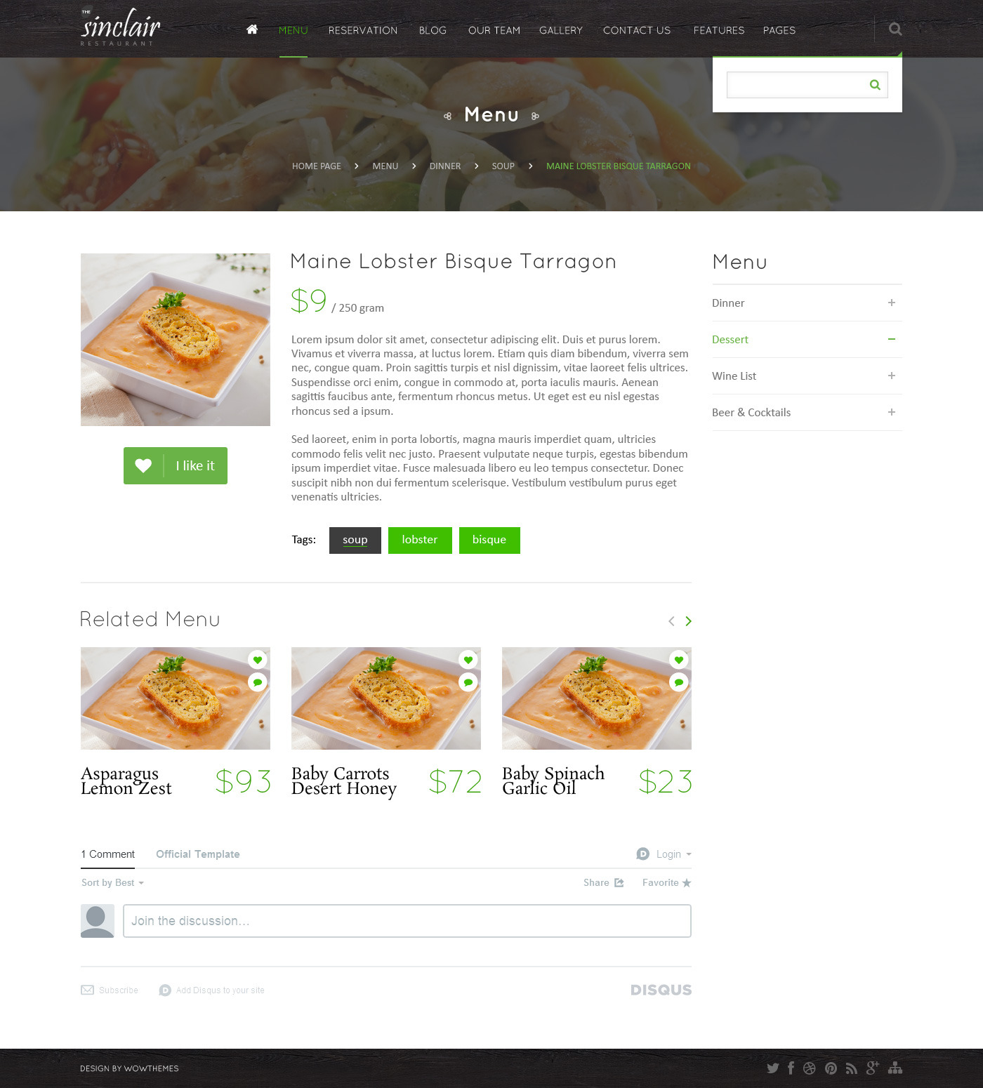 Sinclair ( Restaurant ) PSD Template