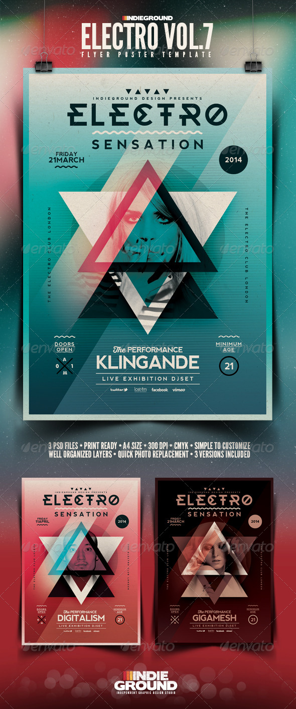 GraphicRiver Electro Flyer Poster Vol 7 6969465