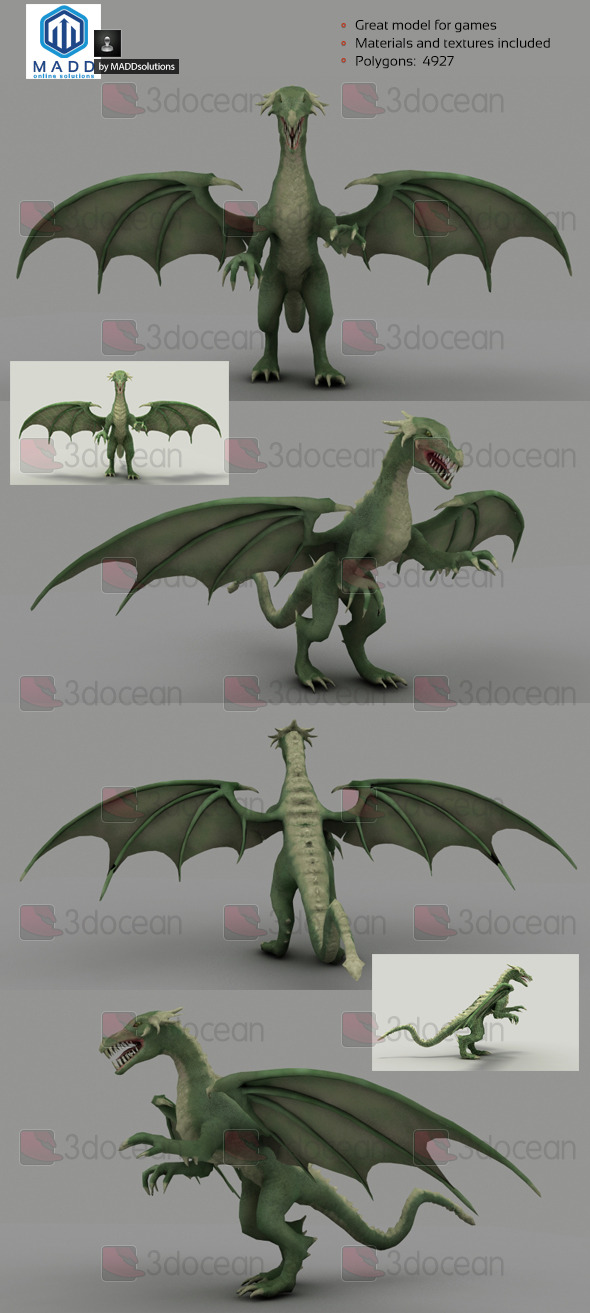 3DOcean Low Poly Green Dragon 4927 polygons 6969579