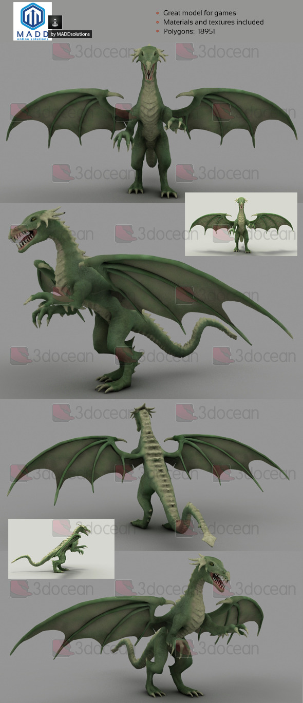 3DOcean Mid Poly Green Dragon 18951 polygons 6969598