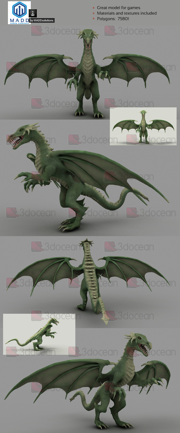 3DOcean High Poly Green Dragon 75801 polygons 6969608