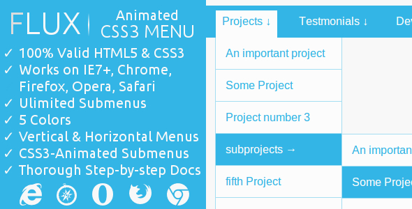 CodeCanyon FLUX CSS3-Animated Menu 6969780