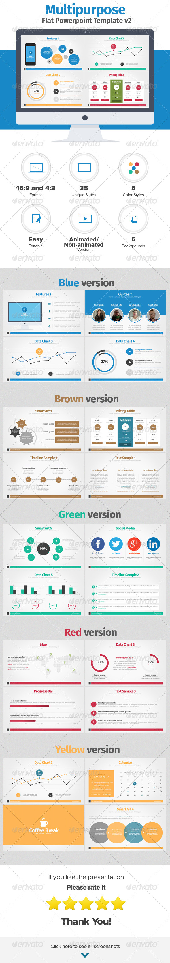 GraphicRiver Multipurpose Flat Powerpoint Presentation v2 6970058