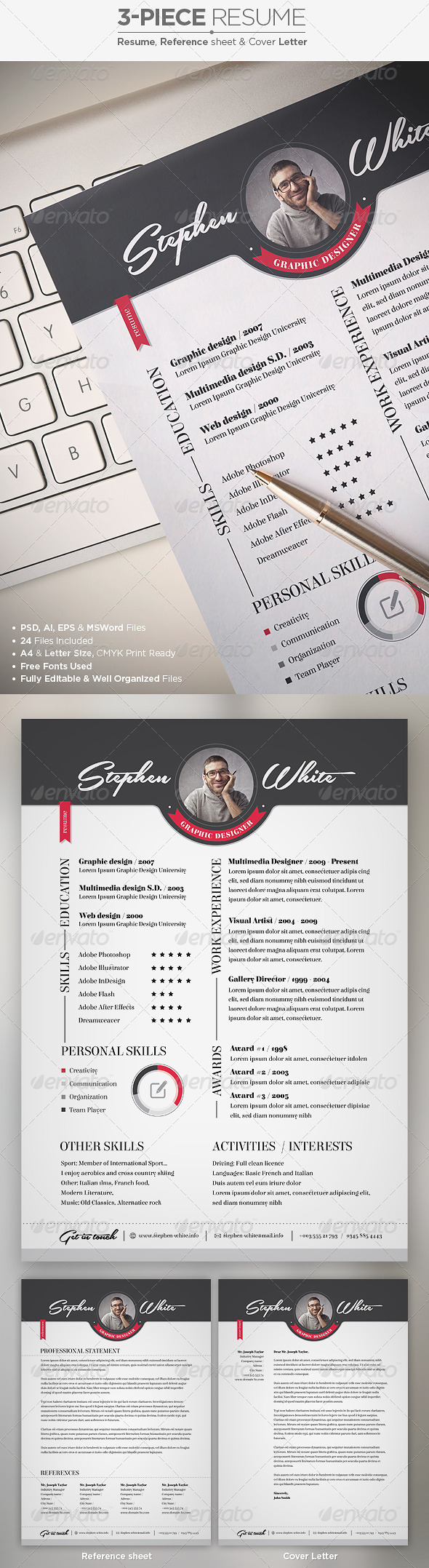 3-Piece Resume / CV Set - Resumes Stationery