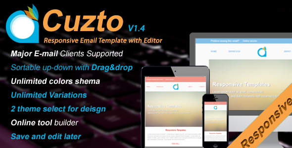 Cuzto-Responsive Email Template with Editor v1.4