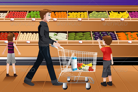GraphicRiver Father and His Kids Grocery Shopping 6971840