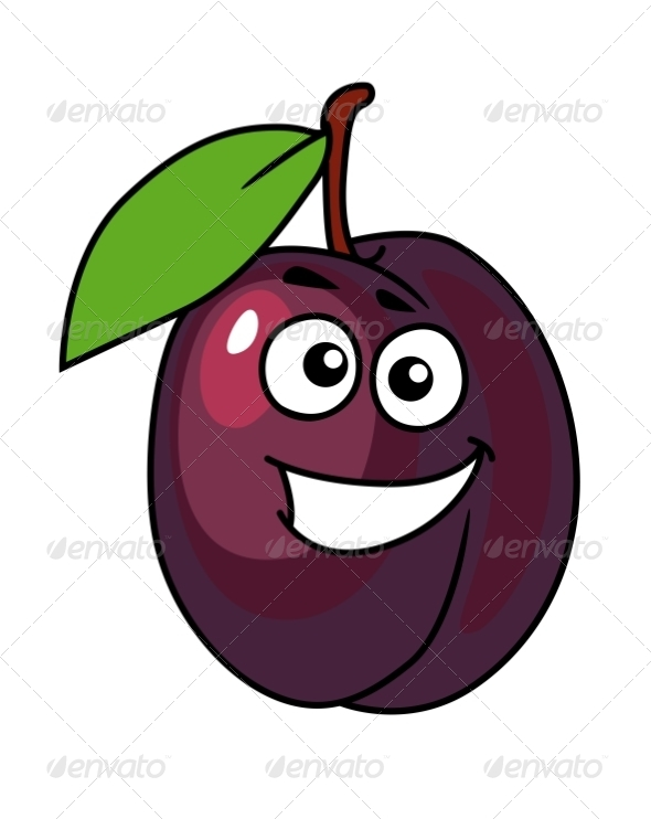 GraphicRiver Cartoon Plum with a Happy Smile 6971883