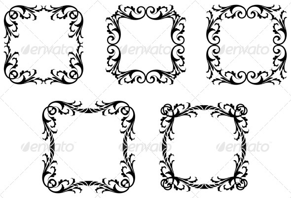 GraphicRiver Gothic Leafy Frames 6972214