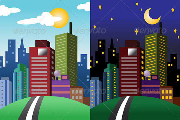 Day and Night View of a Modern City