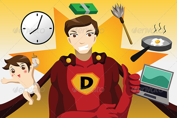GraphicRiver Superhero Dad Concept 6972585