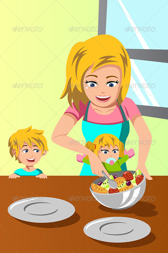 GraphicRiver Mother and Her Kids Preparing Salad 6972600