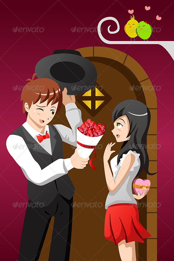 GraphicRiver Man Giving Flowers to His Girlfriend 6972758