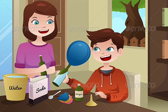 GraphicRiver Mother Helping Son Build a Science Project 6973116