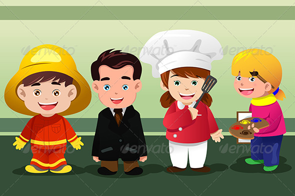 GraphicRiver Children Dressing Up As Professionals 6973132