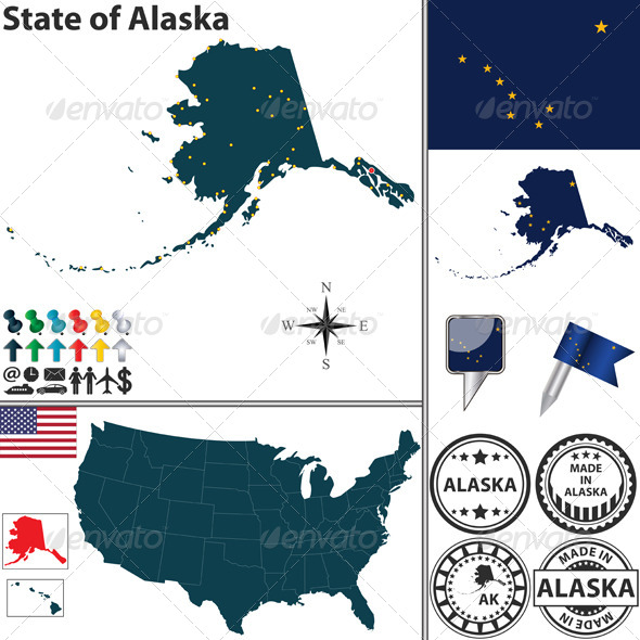 GraphicRiver Map of State Alaska USA 6974091