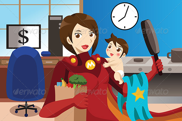 GraphicRiver Superhero Mom Concept 6974099