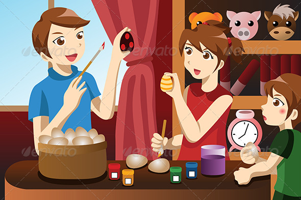 GraphicRiver Kids Painting Easter Eggs 6974123