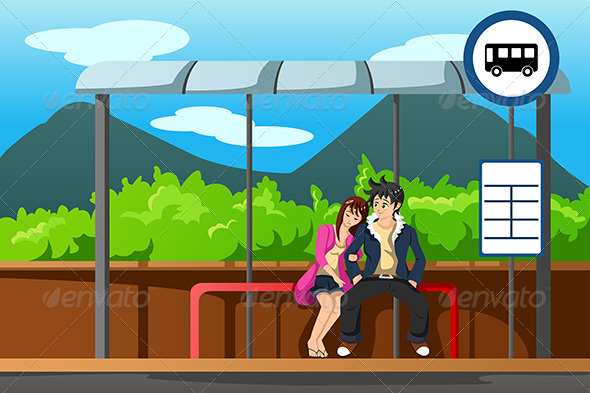 GraphicRiver Man and Woman at Bus Stop 6974171