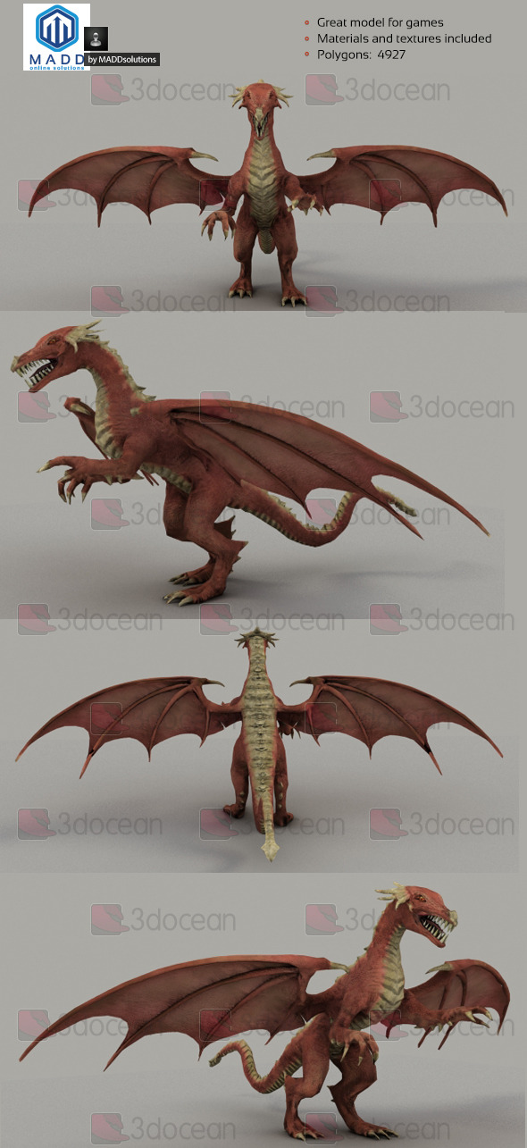 3DOcean Low Poly Red Dragon 4927 polygons 6974331