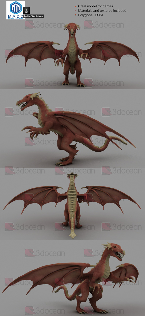 Mid Poly Red Dragon 18951 polygons