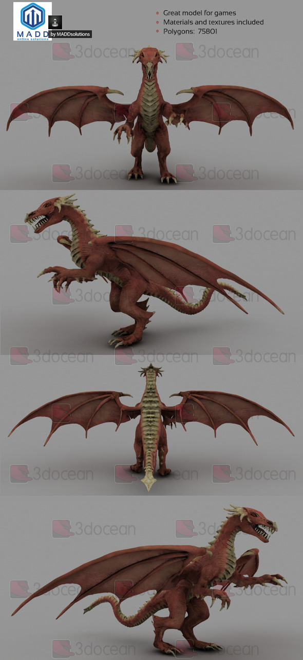 3DOcean High Poly Red Dragon 75801 polygons 6974442