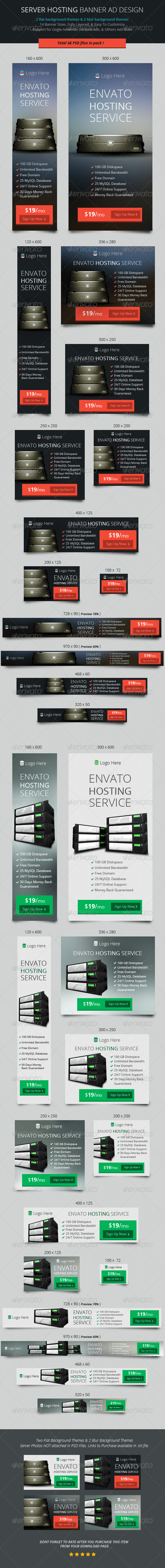 GraphicRiver Flat Hosting Banner ad Design 6962983