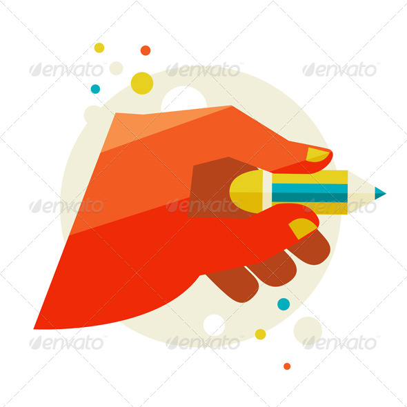 GraphicRiver Man s Hand Holding A Pencil 6975611