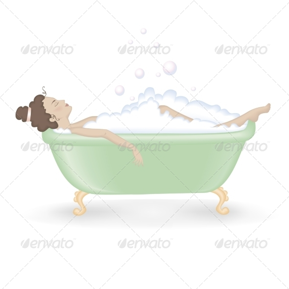 GraphicRiver Woman Taking a Bath with Foam 6975685
