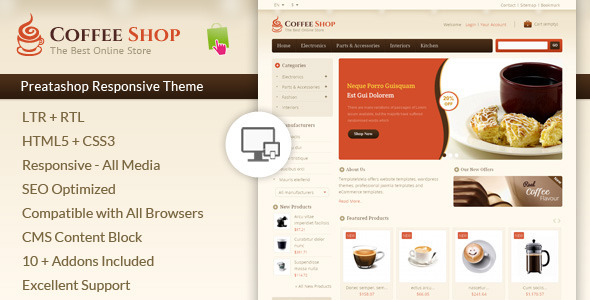 ThemeForest Coffee Shop Prestashop Responsive Template 6975964