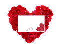 Beautiful Heart Of Red Rose Petals And Greeting Card