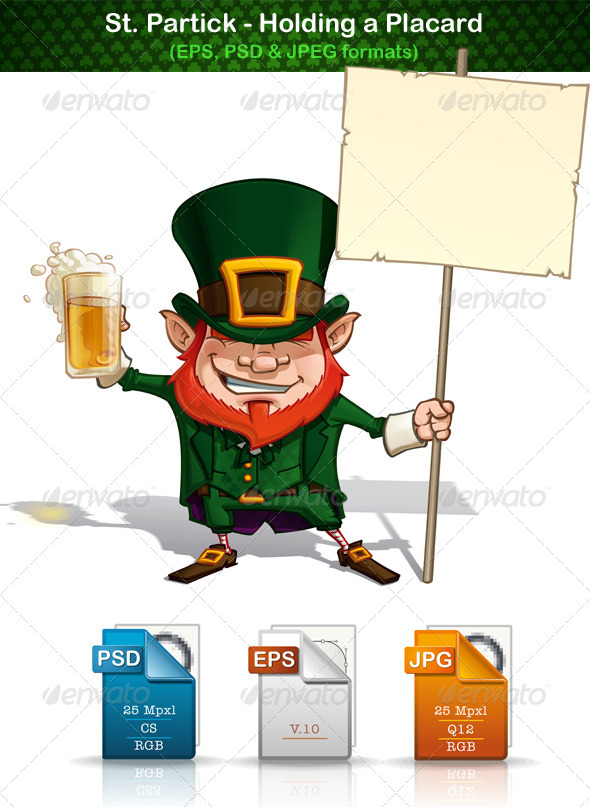 GraphicRiver St Patrick Holding a Placard 6976694