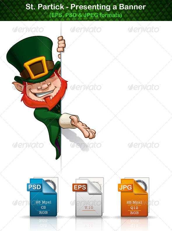 GraphicRiver St Patrick Presenting a Banner 6976768