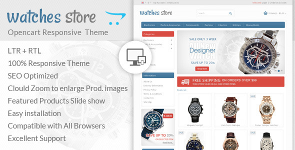 ThemeForest Watch Store Opencart Responsive Theme 6976843