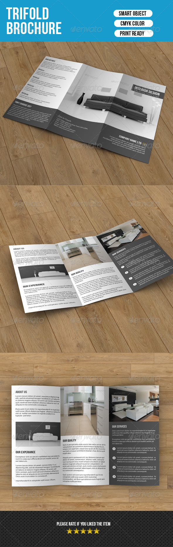Minimal Trifold-Interior Design - Corporate Brochures