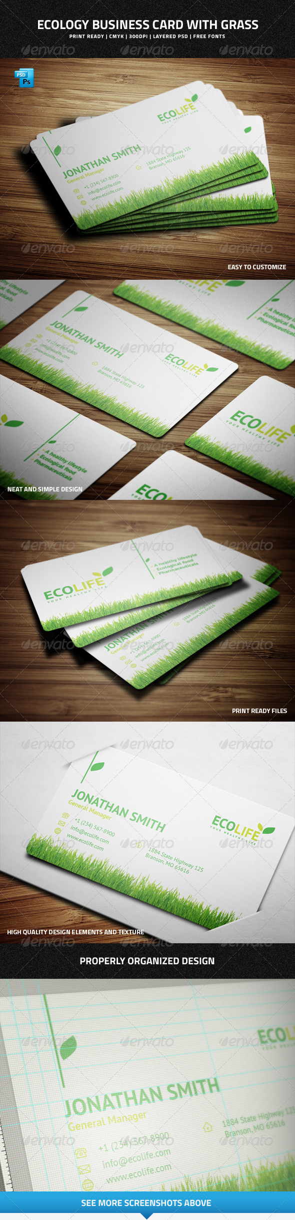 GraphicRiver Ecology Business Card with Grass 6977448