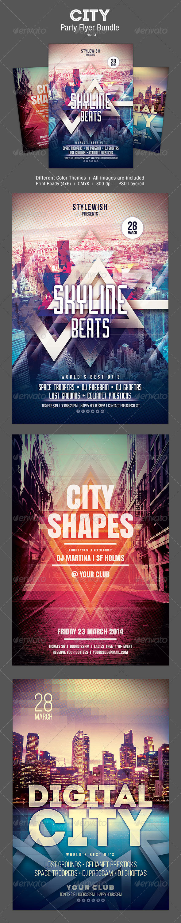City Party Flyer Bundle Vol.04 - Clubs & Parties Events