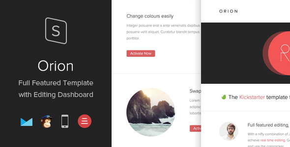 Orion Responsive Template with Editing Dashboard
