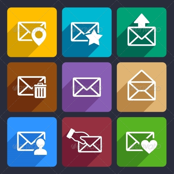 Mail Flat Icons Set 48